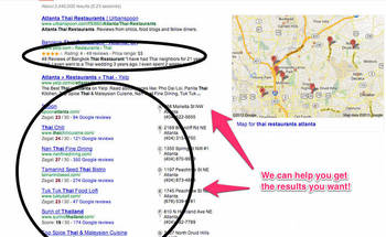 Small google local search results