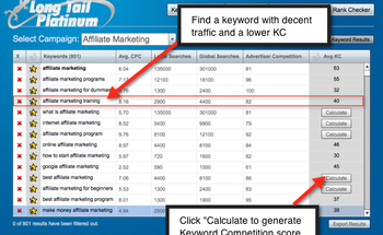Small long tail pro keyword competition