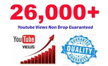 Small 26 000  organic high quality youtube video views