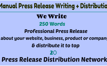 Small i will write a professional press release and distribute it to top 20 press release network