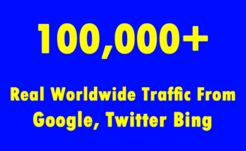 Small 100 000  real worldwide traffic from google  twitter bing
