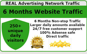 Small get unlimited real advertising network website traffic for 6 months