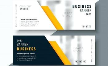 Small elegant yellow professional business banner template vector free demo business card banner template